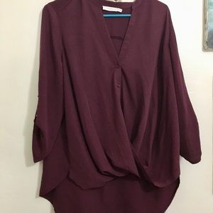 Lush Twist Blouse Hi-Lo with Buttons